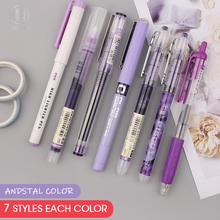 Andstal 6pcs/7pcs Colorful Liquid Roller Pen 0.5mm Purple Blue Red Black Green Pink ink Rollerball pens Fine Point Smooth school