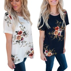 2019 Summer Casual Stylish Women Casual Floral Print Short Sleeve Chiffon Shirts O-Neck Tops Fashion S M L XL XXL XXXL! 2