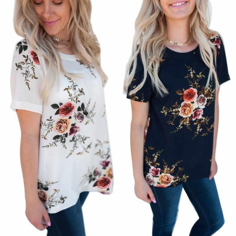 2020 สไตล์สบายๆผู้หญิงสบายๆดอกไม้พิมพ์ชีฟองแขนสั้นเสื้อคอวีเสื้อแฟชั่น S M L XL XXL XXXL!