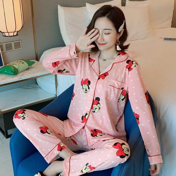 Low Price Pajamas Women's Spring And Autumn Cardigan Fold-down Collar Long Sleeve Cartoon Mickey Homewear Set Southeast Asia