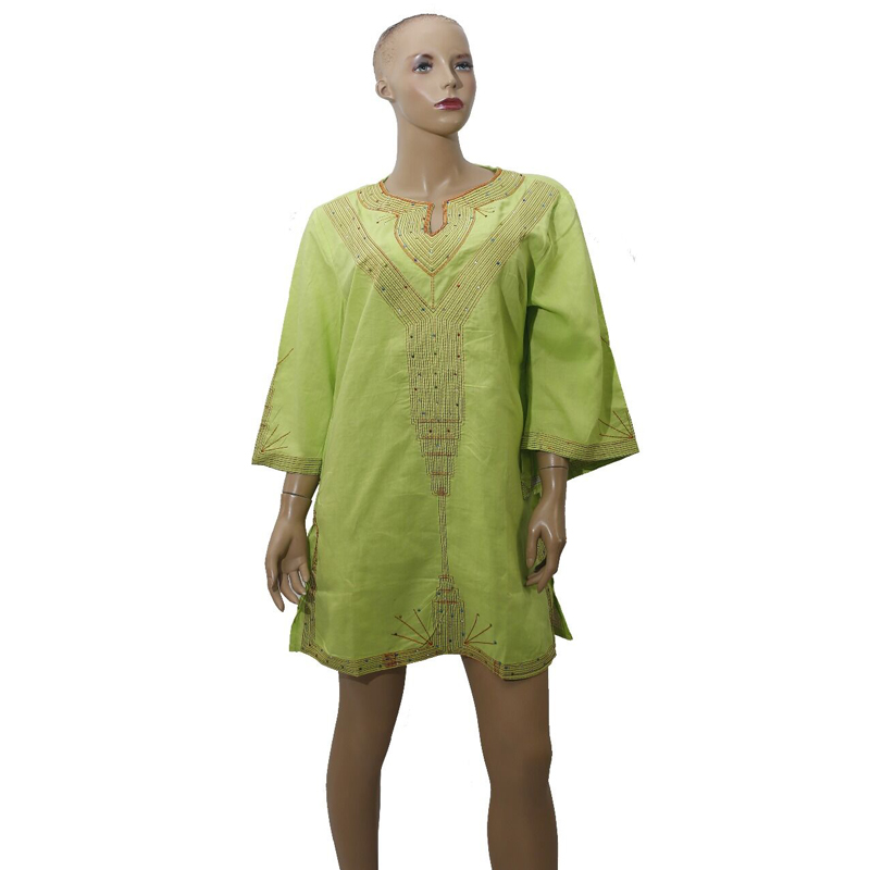 MD Women Linen Mini Dress African Dashiki Embroidery Clothes Long T Shirt Female Casual Tops Traditional Wears