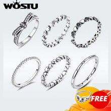 WOSTU Hot Sale 925 Sterling Silver Rings For Women European Original Wedding Fashion Brand Ring Jewelry Gift