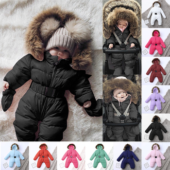 Winter Newborn Baby Romper Solid Thick Warm Infant Snowsuit Down Jacket Long Sleeve Hooded Baby Jumpsuit Baby Winter Clothes baby winter clothes cartoon dog thick warm toddler boy girl romper hooded jumpsuit children snowsuit down kids clothing