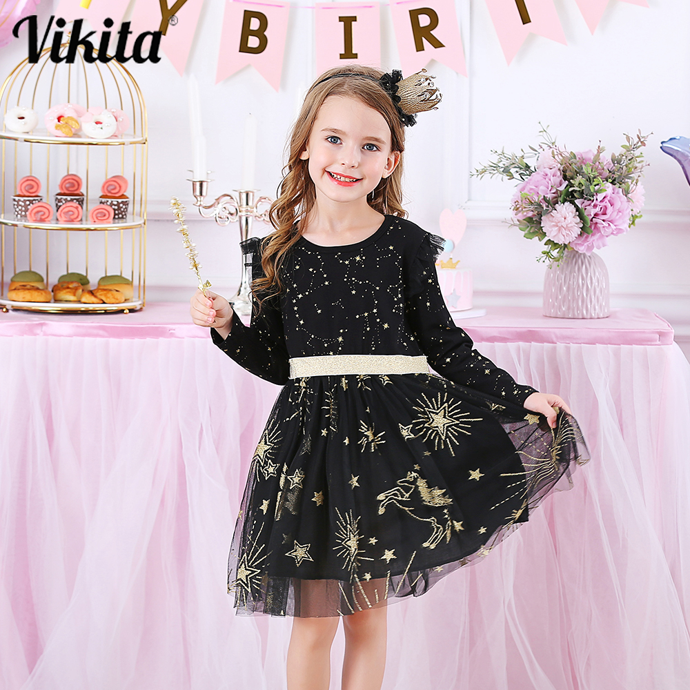 VIKITA Kids Party Dress for Girl Children Sequined Dresses Girls Star Dress Toddlers Casual Dresses Children Autumn Costumes