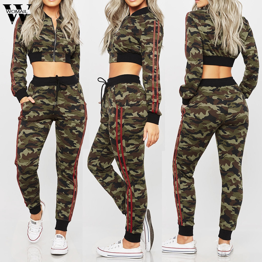 Womail Tracksuit Women Autumn 2PCS Set Camouflage Print Long Sleeve Sport Set Long Sleeve Zipped Coat +Long Pants Women Suit 81