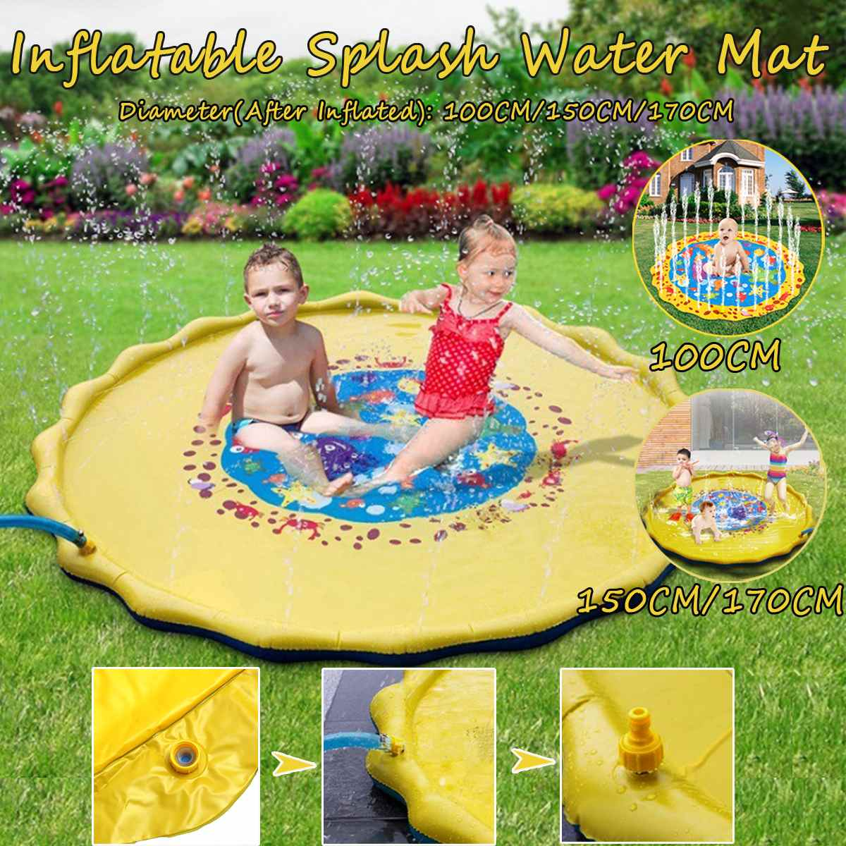 100/150/170CM New Sprinkle And Splash Water Play Mat For Children Outdoor Swimming Beach Lawn Inflatable Sprinkler Pad Yellow