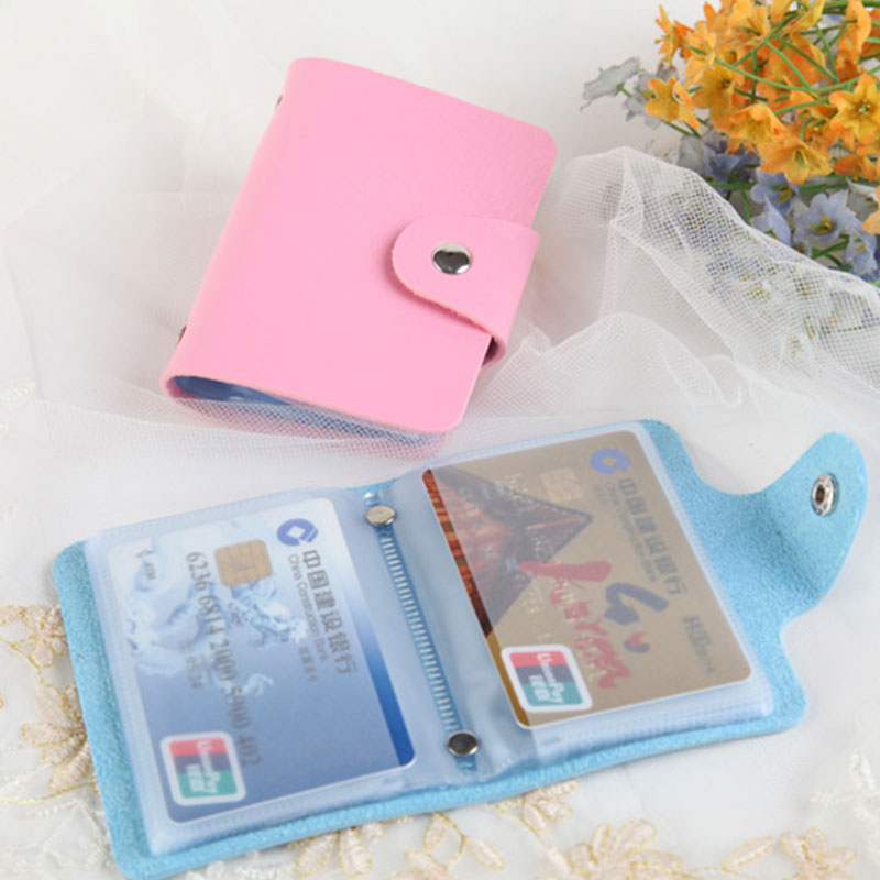 Portable Card Holder Bag Women Men PU Leather Wallet Credit Card Case Business ID Bank Cards Storage Pouch Small Change Bag