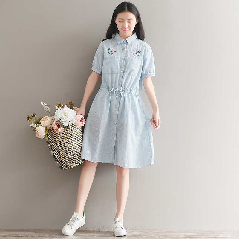 Photo Shoot 2018 Large Size Dress New Style Mori Girl Hipster Short Sleeve Embroidery Stripes Loose Cotton Linen Dress