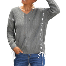 2019 Autumn Women's Back With Rope Cross Bow Long Sleeve Pullover Sweater Women Pullovers Winter Knitwear Knitted Sweaters Hot O long sleeve top with cross back