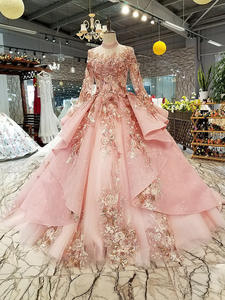 Party-Dresses Puffy Long-Tulle-Sleeve Muslim Pink Lace-Up High-Neck Back for LS320400