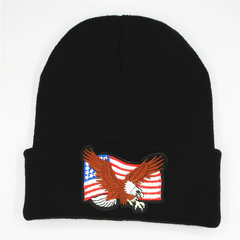 Cotton Eagle Embroidery Thicken Knitted Hat Winter Warm Hat Skullies Cap Beanie Hat For Kid Men Women 58