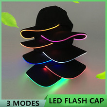 LED Light Flash Headlight Baseball Cap New Fashion Lighted Glow Club Party Black Fabric Traveling Hat Headlamp