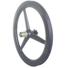 Tri spoke ruedas de carbono 406 para bicicleta plegable, 3 radios, 20 pulgadas, juego de ruedas de carbono cubiertas, freno de disco v