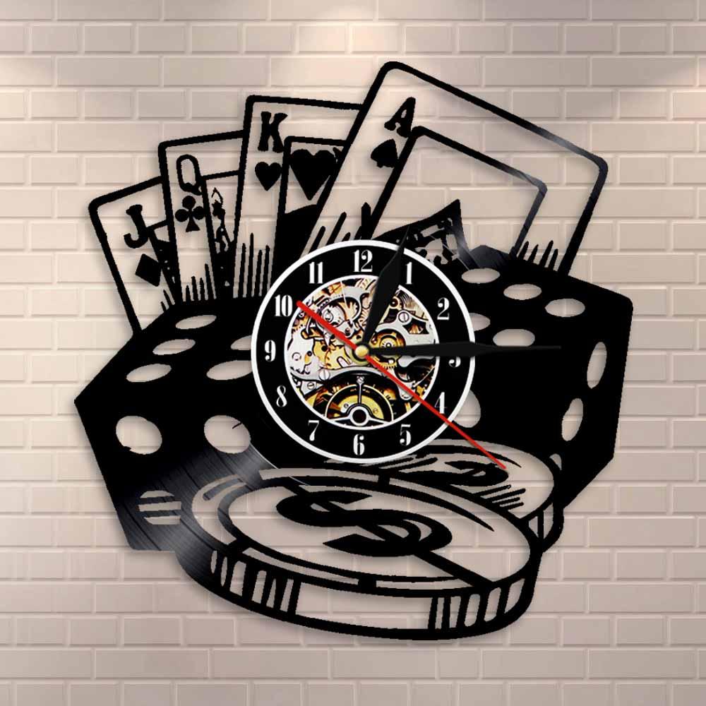 Poker Dice Wall Art Poker Chip Set Wall Clock Poker Room Wall Decor Clock Vinyl Record Wall Clock Poker Player Gambler Gift