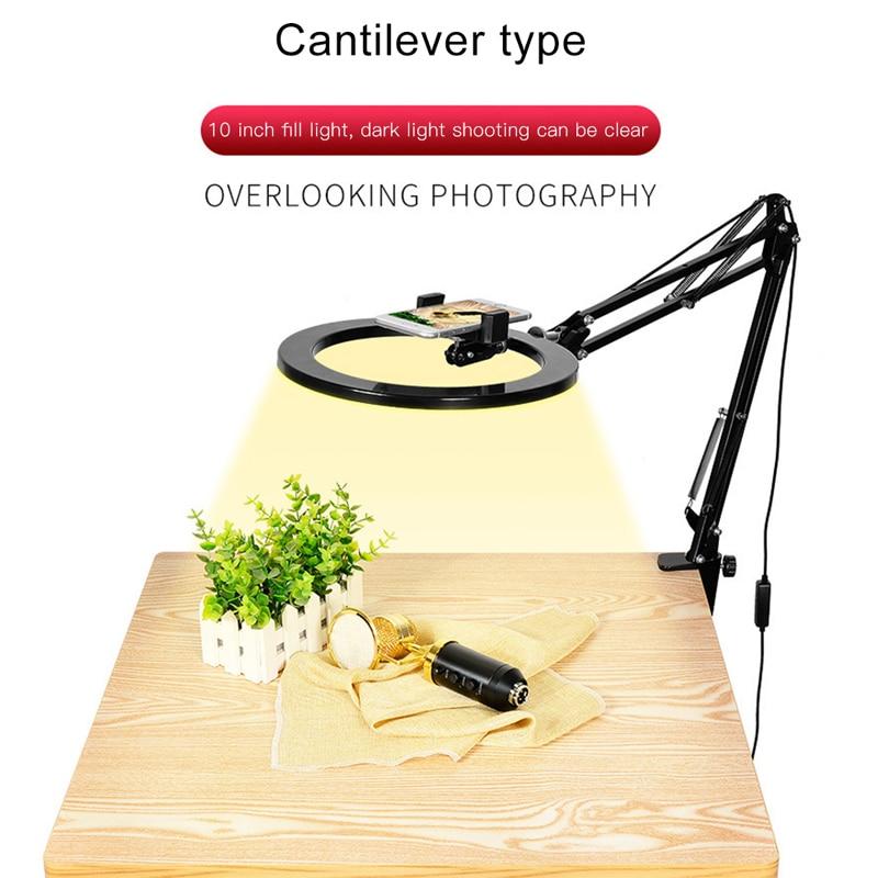 10inch 26cm Dimmable Selfie Ring Light With Long Arm Desk Clip Tablet Mobile Phone Holder LED Studio Light For Live Video Makeup