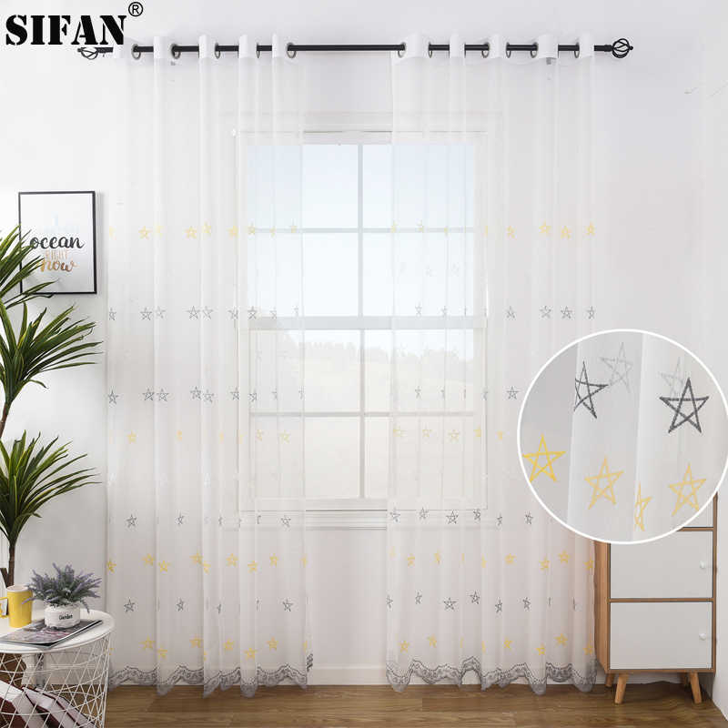1PC Star Ballon Tulle Voile Rideau-Kids Room