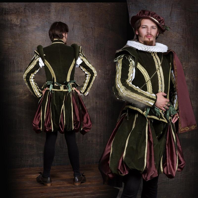 Cosplaydiy masculino tudor renascentista medieval tudor elizabetano cosplay traje adulto dos homens tudor outfit l320