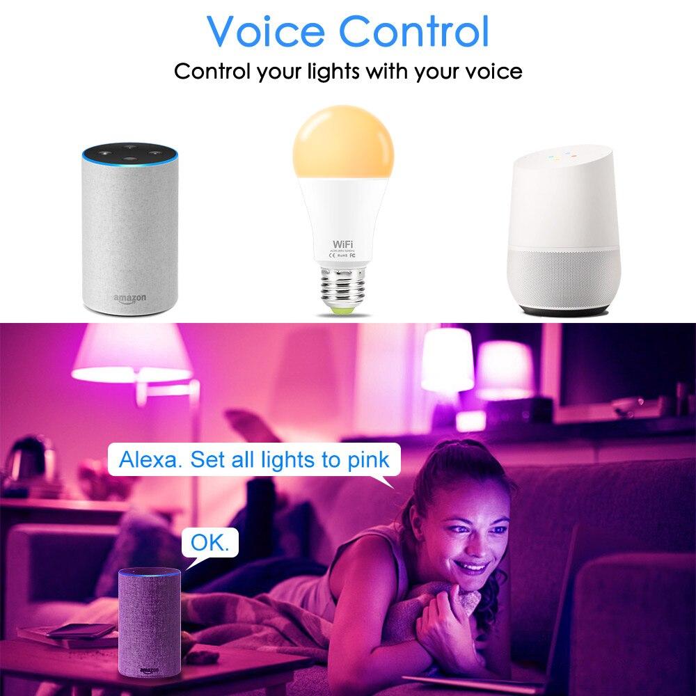 15 Вт WiFi умная лампа RGB белая Волшебная Светодиодная лампа с регулируемой яркостью E27 B22 WiFi лампа накаливания совместима с Amazon Alexa Google Home Smartphone