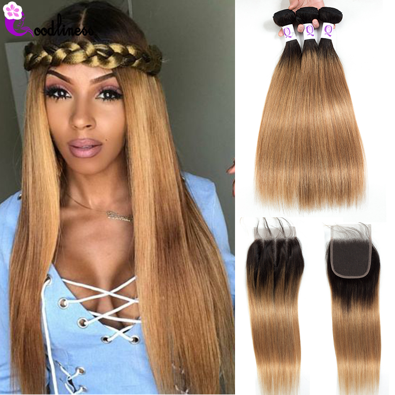 Goodliness Ombre Bundles With Closure 1B/27 Blonde Ombre Peruvian Hair Weave Straight Human Hair 3 Bundles With Closure Remy