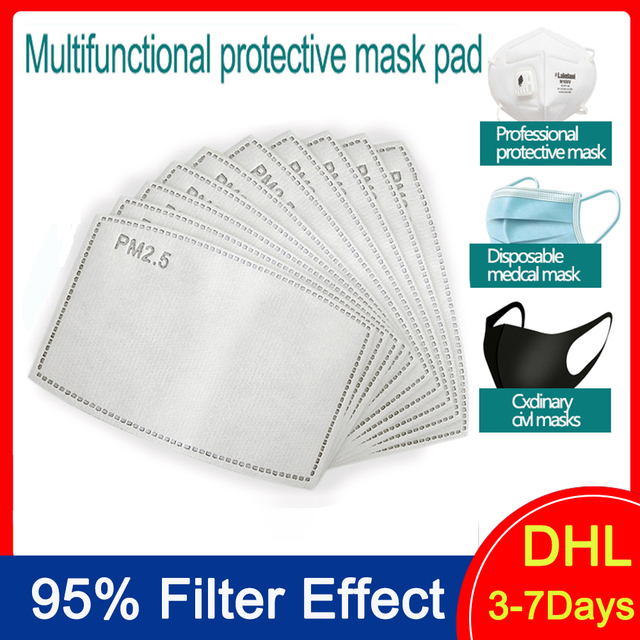 50pcs Disposable Filter Pad for Kids Adult Face Mouth Mask Respirator 5 Layers PM2.5 Filter  Protective Media Flu-proof Filter