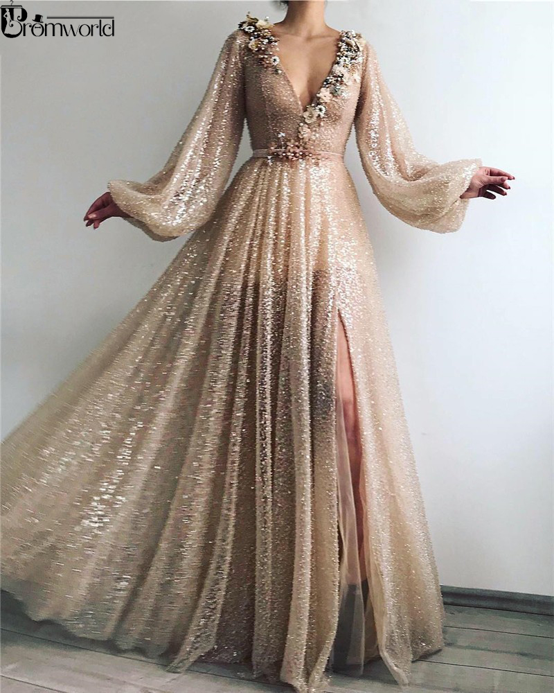 Bling Bling Gold Muslim Formal Party Dress Flowers V-Neck Sequin A-Line Dubai Arabic Long Sleeve Evening Dresses 2019