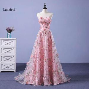 Image 1 - Lanxirui pembe çiçekler elbiseler uzun straplez sevgiliye vestido de formatura longo gece elbisesi parti cadılar bayramı