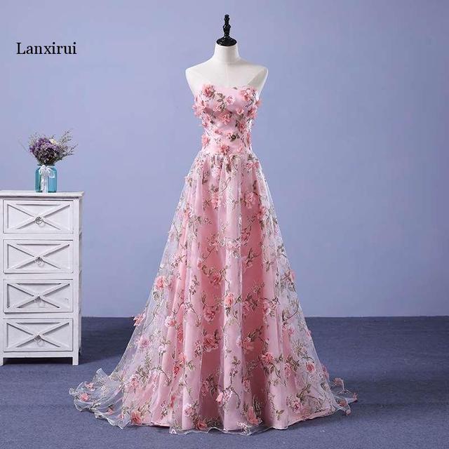 Lanxirui pembe çiçekler elbiseler uzun straplez sevgiliye vestido de formatura longo gece elbisesi parti cadılar bayramı