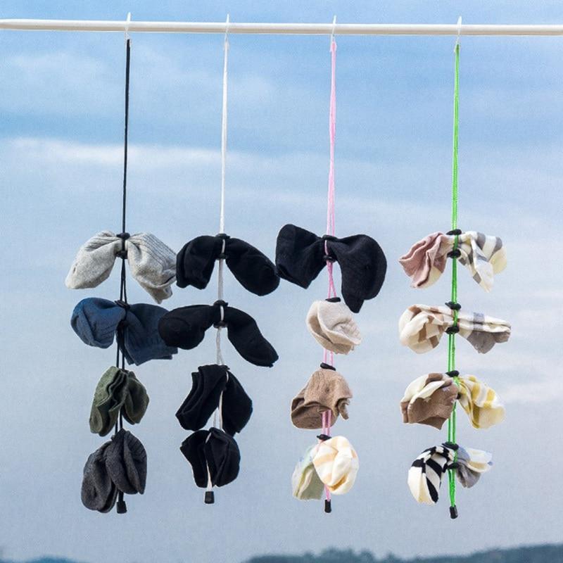 Socks Storage Organizer Sock Adjustable Non-slip Hanging Rope Hook Clips Sock Cleaning Aid Tool Socks Drying Hanger Clothesline