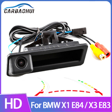 Dynamic Trajectory Parking Line Car Reverse Backup Rear View Trunk Handle Camera For BMW X1 E84 Night Vision CCD full HD