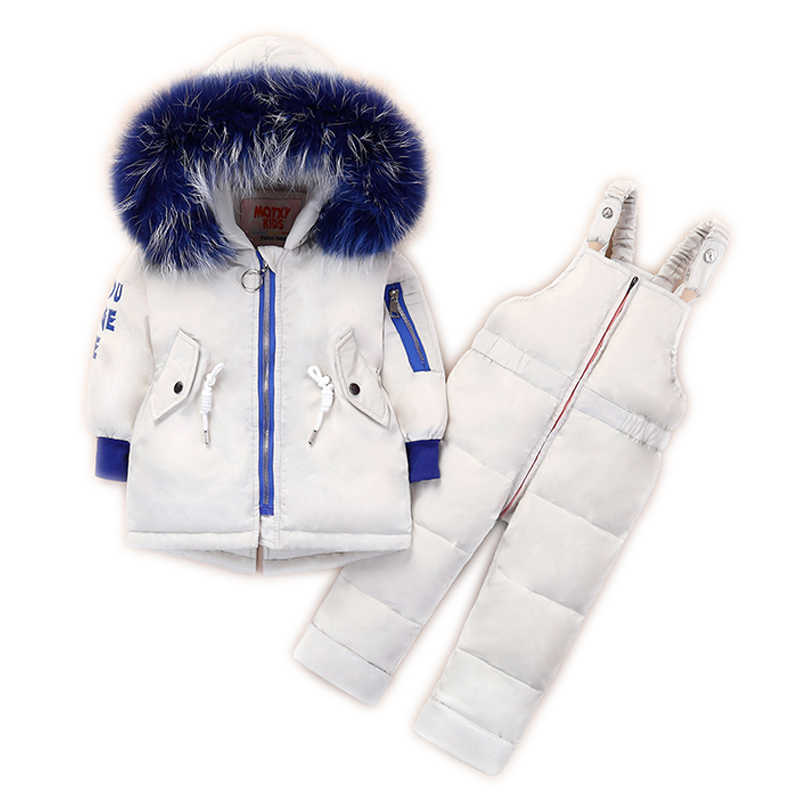 -30 degrees Russian winter children's down jacket suit Baby white duck down jacket Girls red windproof thick coat + down pants