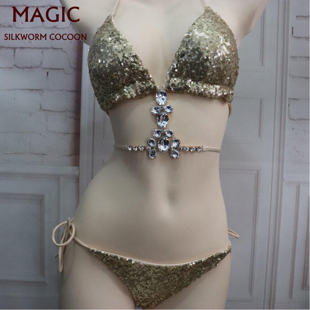 New Gold Glitter Swimsuit Sexy Crystal Swimwear Women Bathing Suit Low Waist Bandage Swimming Suit Women Push Up Bikini Set