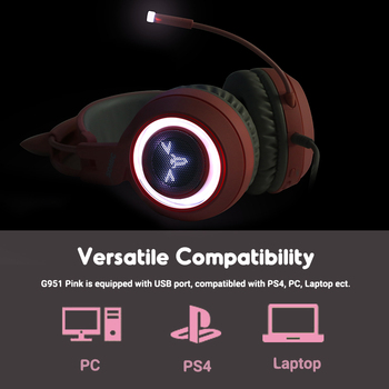 SOMIC Pink Gaming Headset 7.1 Surround-Sound G951 Cat Ear Stereo Noise Cancelling Head Phone Vibration LED USB Headsets for Girl 4