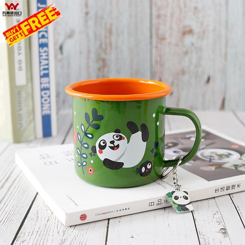 WAF Panda A Series Mug Orange Green Cup With Lovely Panda Pendant Gift Box Enamel Mugs Baby Panda Private Gift For Friend
