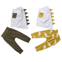 2PCS Toddler Kids Baby Boy Dinosaur Clothes 3D Long Sleeve C