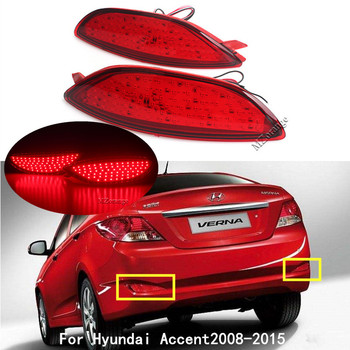 цена на Rear Bumper Reflector Brake Light For Hyundai Accent Verna Brio Solaris 2008-2015 Red Lens LED Bulb Car Warning Stop Fog Lamp