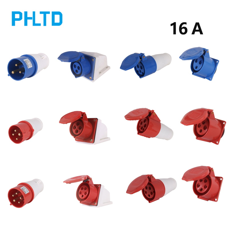 Waterproof Industry Plug Socket 3 Core 4 Core 5 Core 16A Plug Socket Connector Male And Female Industry Electrical Socket Blue
