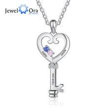 JewelOra-Colgante con forma de corazón para mujer, colgante con diseño de llave personalizada, joyería con nombre grabado, piedras personalizadas