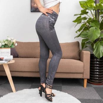 Fashion Slim Women Leggings Faux Denim Jeans Leggings Sexy Long Pocket Printing Summer Leggings Casual Pencil Pants 4