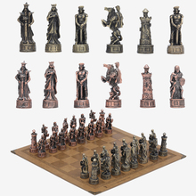 Metal Theme Chess 32pcs Luxury Knight Table Game Entertainment Toy Leather Board set Gift Dragon Soldier Theme Sports
