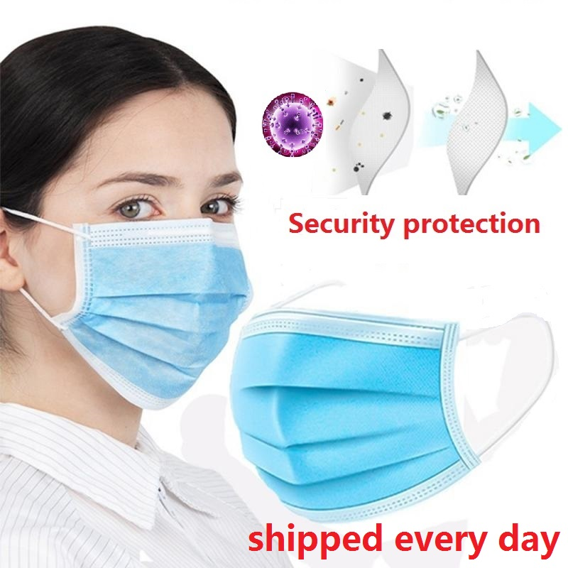 30pcs/50pcs/100pcs Lot Disposable Masks Soft 3-layer Non-Woven Masks Anti Dust Mouth Face Mask Protective Factory wholesale title=