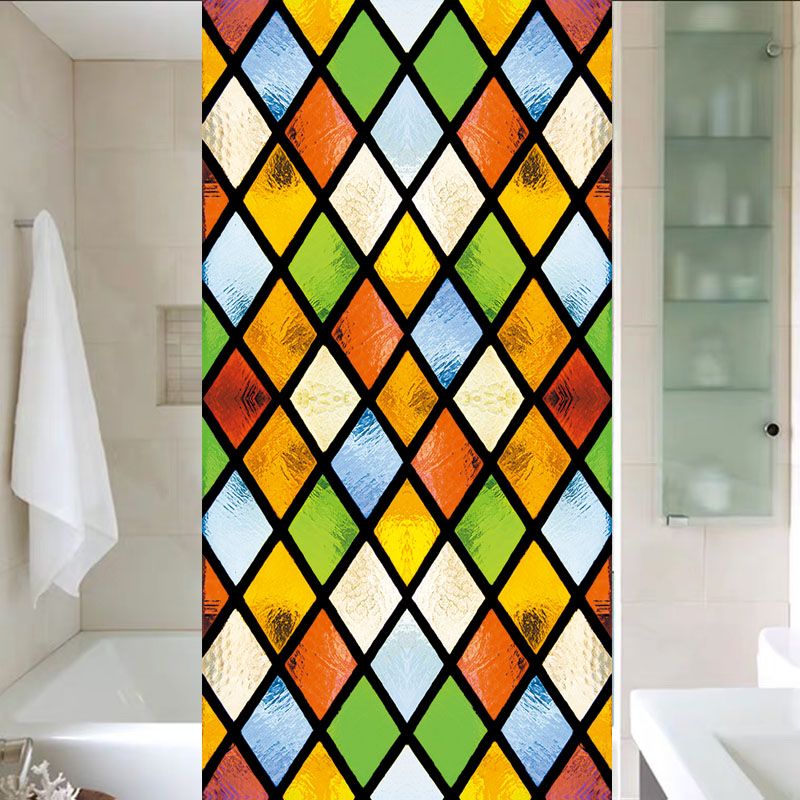 Custom Size Window Glass Films Static Cling Classical Frosted Glass European Church Stained Pattern Window Sticker Foil Mosaic