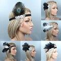 Женская винтажная повязка на голову с перьями, черная бусина, модель 1920s, винтажный головной убор для вечерние НКИ, выпускного вечера, аксесс...