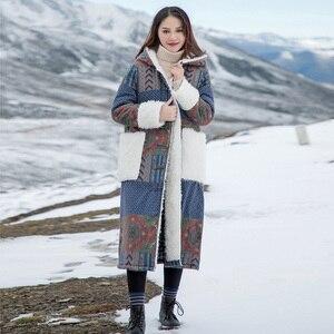 Image 1 - Johnature 女性パッチワーク韓国スタイルパーカー 2019 冬の新付き印刷花暖かい女性パーカー