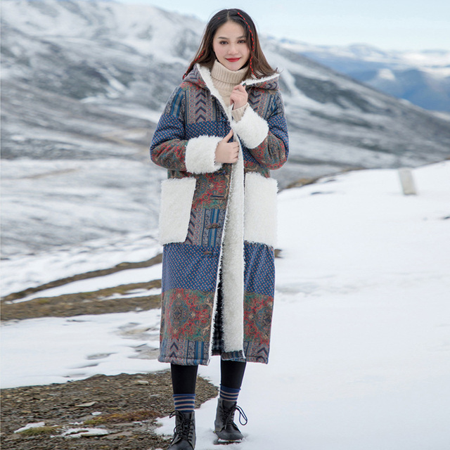 ผู้หญิง Johnature Patchwork เกาหลีสไตล์ Parkas 2019 ฤดูหนาวใหม่กระเป๋า Hooded แขนยาวพิมพ์ดอกไม้ผู้หญิงอบอุ่น Parkas