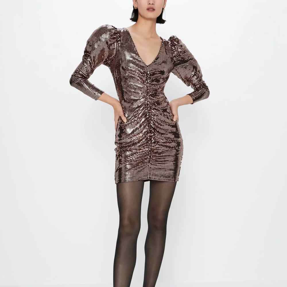 Za Vrouwen Jurk 2019 Sequin Reflecterende Bladerdeeg Mouw Geplooide Chic Dames Elegante Mini Club Party Dress Herfst Winter Vrouw Jurken