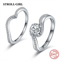Strollgirl 925 Sterling Silver Endless of love Combination Rings Clear CZ Finger Rings for Women Wedding Engagement Jewelry Gift