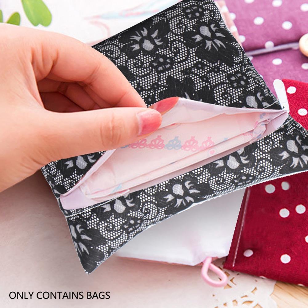 Sanitary Napkin Bag Waterproof Zip Wet Bag Menstrual Aunt Towel Pouch Reusable Storing Diaper Nappy Maternity Print Bag