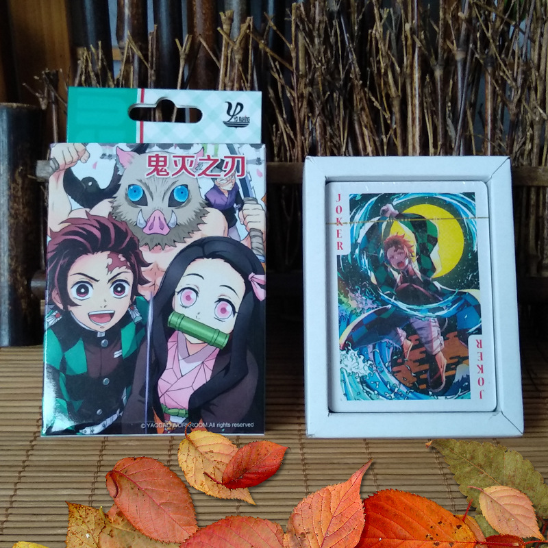 54 Pcs/Set Anime Demon Slayer Kimetsu No Yaiba Poker Cards Kamado Tanjirou Party Board Game Toy Gift