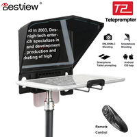 Bestview T2 Portable Teleprompter with Remote Control for Smartphone Tablet DSLR Cameras YouTube Interview Speech Video Studio
