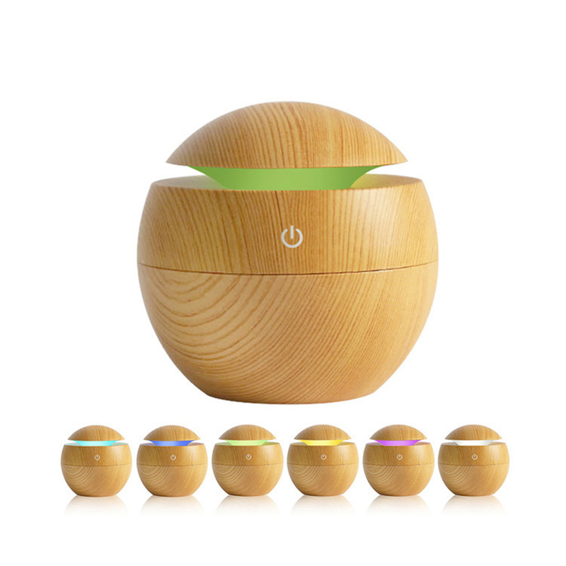 New Style USB Wood Grain Humidifier Wood Grain Round Spherical Humidifier Night Light Mute Spray Humidifier